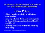 planning considerations for period of time during an earthquake8