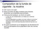 composition de la fum e de cigarette la nicotine