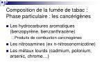 composition de la fum e de tabac phase particulaire les canc rig nes