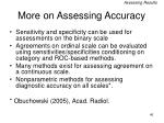 more on assessing accuracy