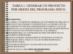 tarea 1 generar un proyecto por medio del programa sinco