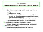 the problem underserved sectors access to financial services