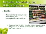 attitudes knowledge and skills re soyfoods