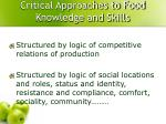 critical approaches to food knowledge and skills