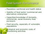 food system performance