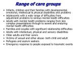 range of care groups