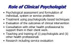 role of clinical psychologist