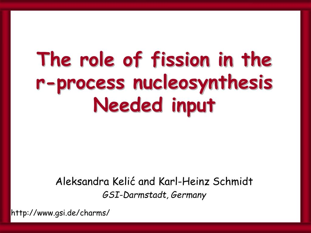 the role of fission in the r process nucleosynthesis needed input l.