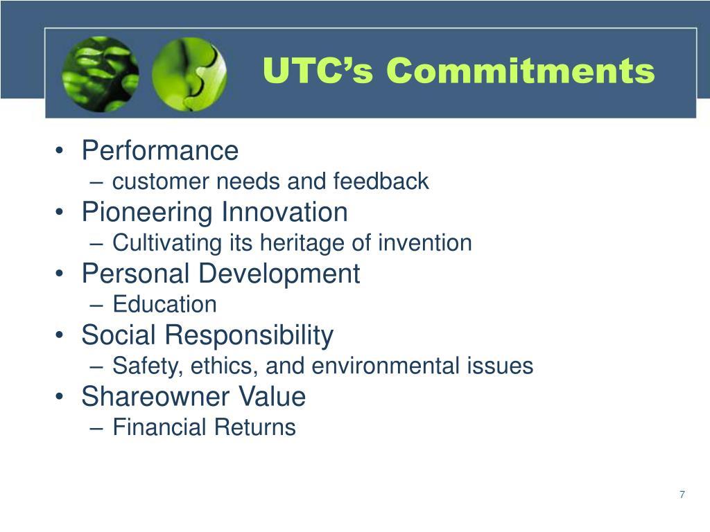 UTC's Commitments