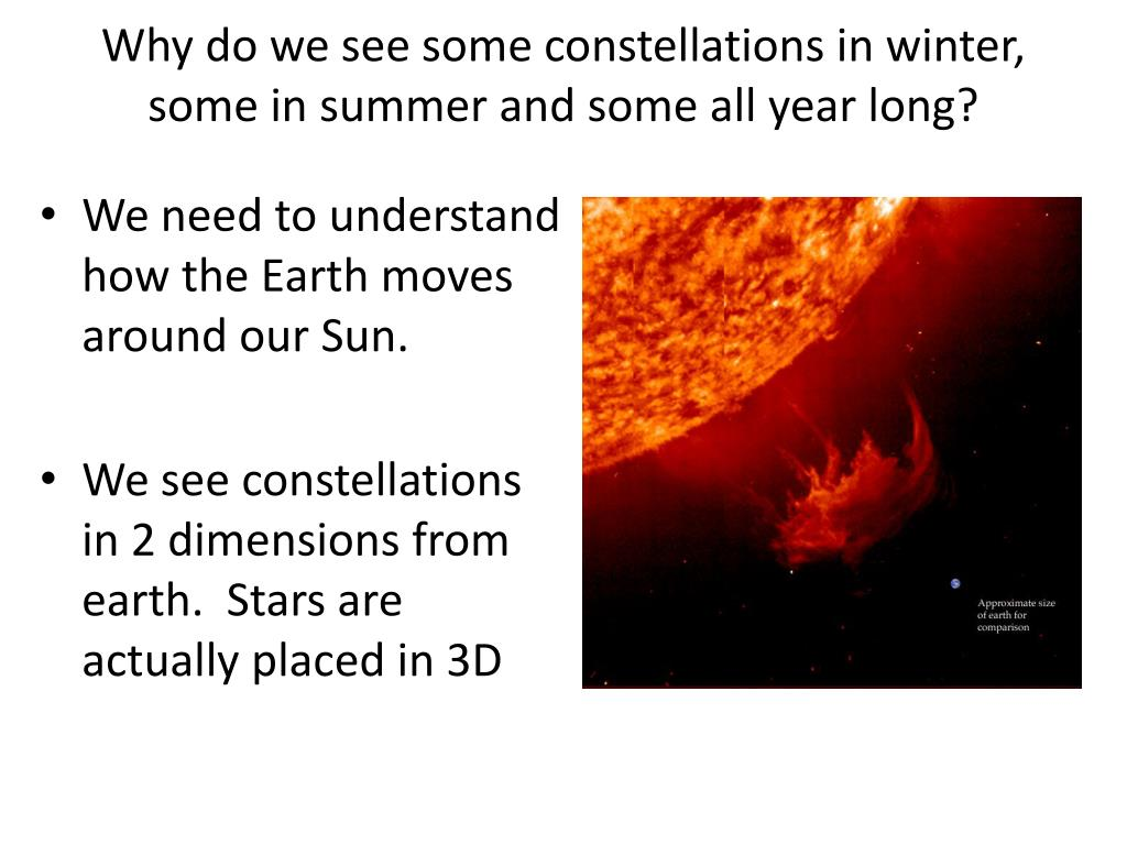 Why do we see some constellations in winter, some in summer and some all year long?
