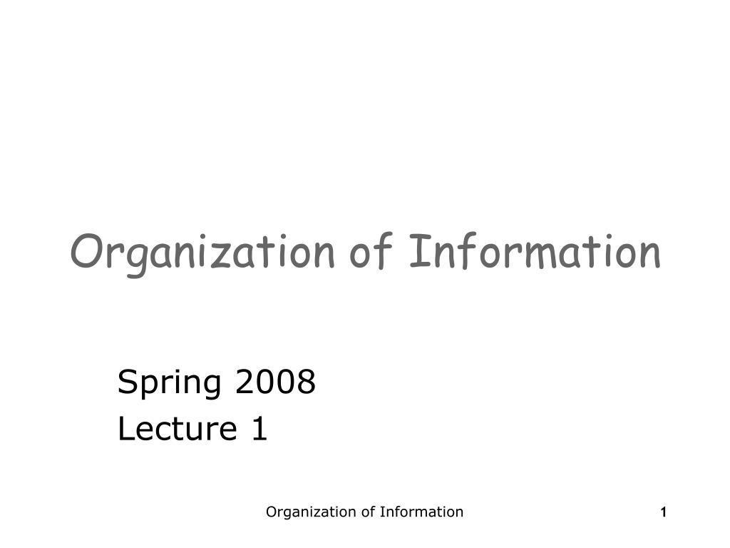 organization of information l.