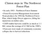 clinton steps in the northwest forest plan