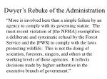 dwyer s rebuke of the administration