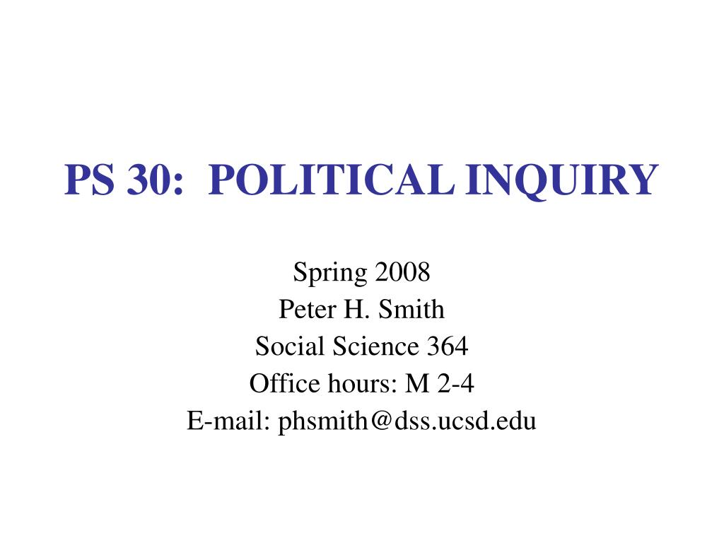 ps 30 political inquiry l.