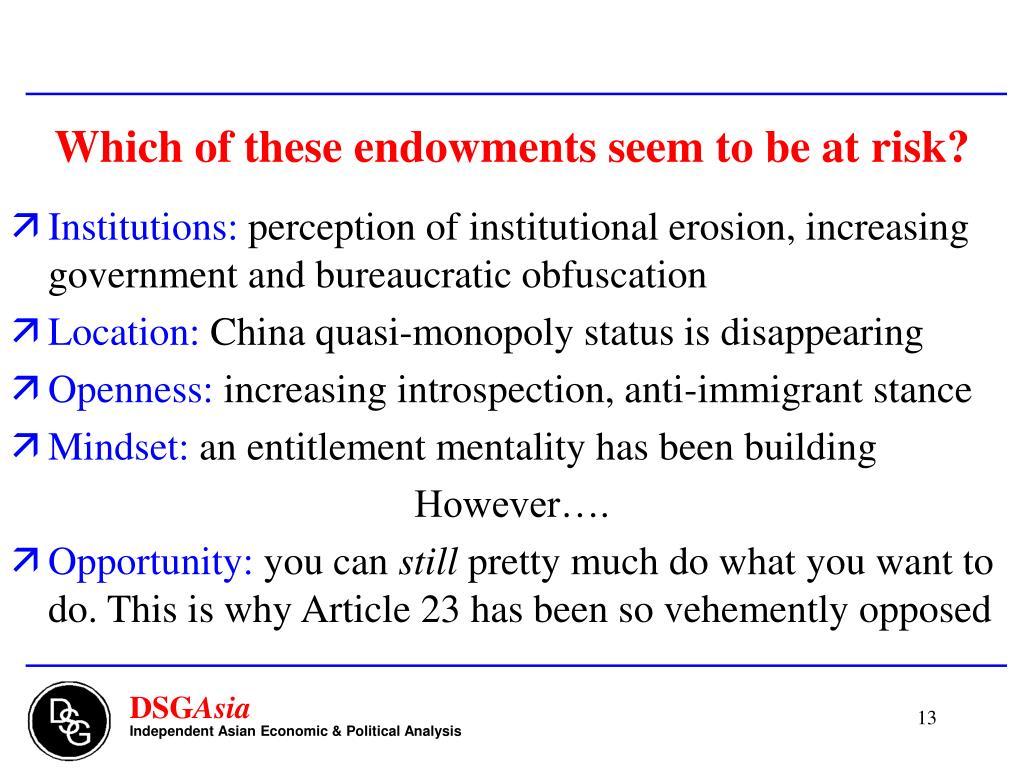 Which of these endowments seem to be at risk?