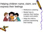helping children name claim and express their feelings