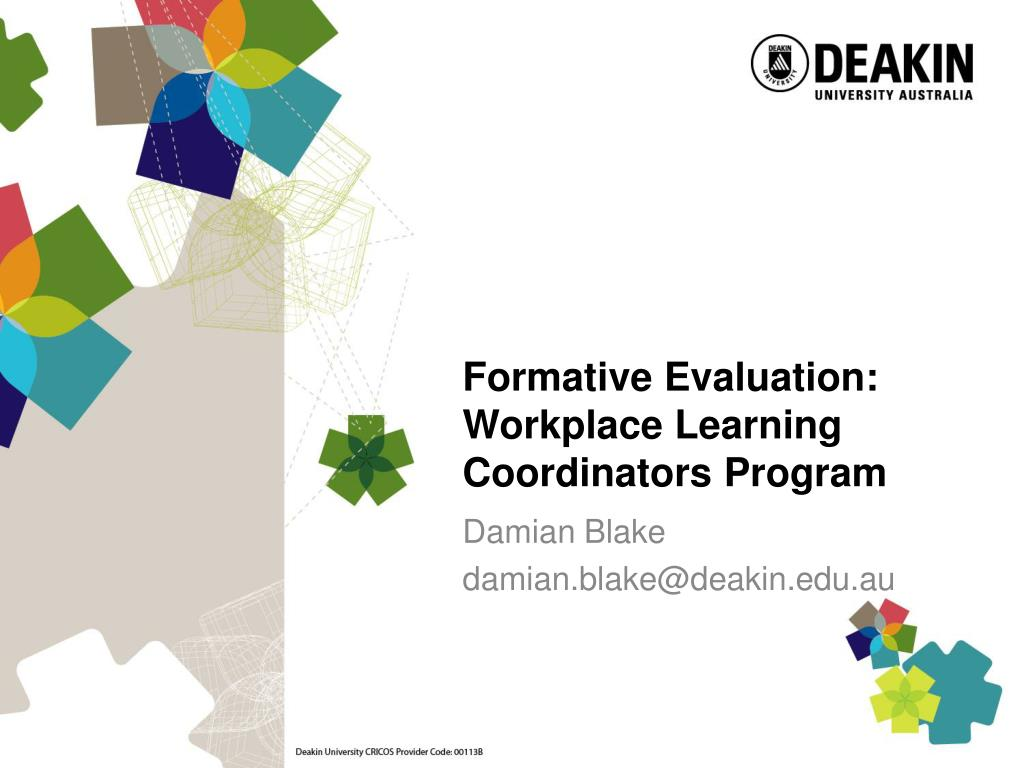 formative evaluation workplace learning coordinators program l.