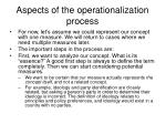 aspects of the operationalization process