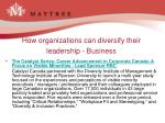 how organizations can diversify their leadership business