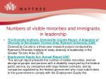 numbers of visible minorities and immigrants in leadership