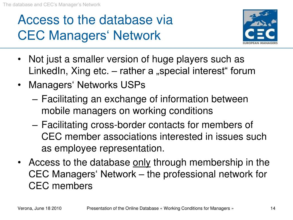 The database and CEC's Manager's Network