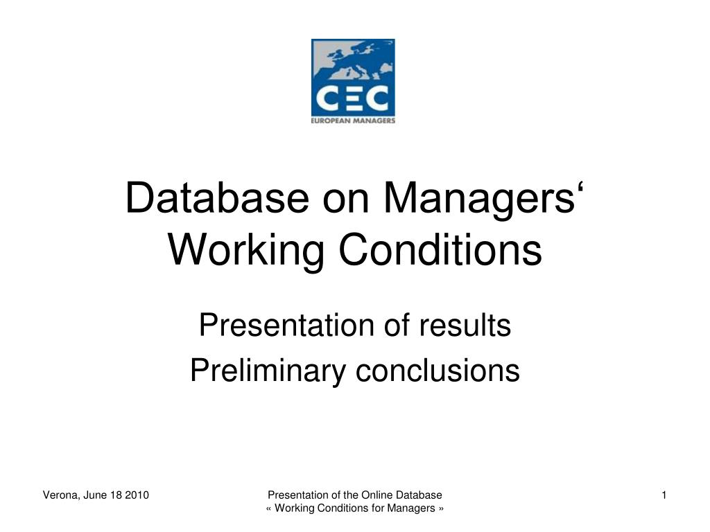 database on managers working conditions l.