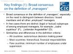 key findings 1 broad consensus on the definition of managers
