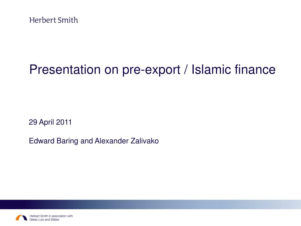 presentation on pre export islamic finance l.