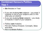 combined honours politics year 1