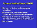 primary health effects of dpm