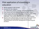 pilot application of elearning in education