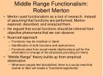 middle range functionalism robert merton