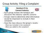 group activity filing a complaint