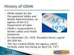 history of osha