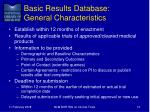 basic results database general characteristics