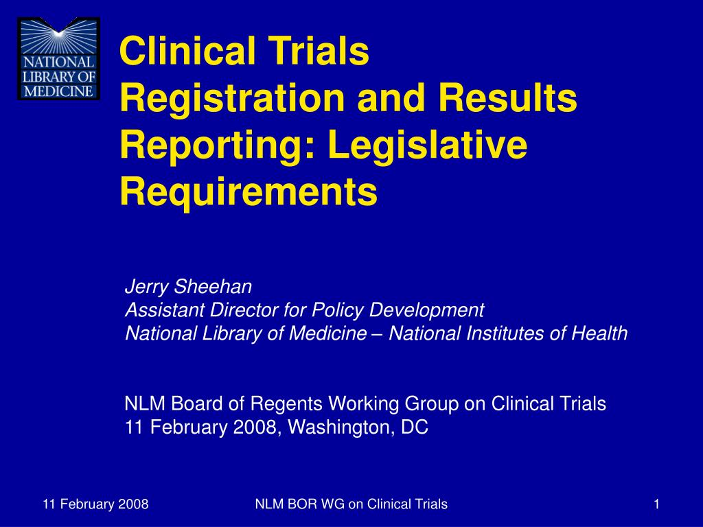 clinical trials registration and results reporting legislative requirements l.