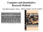 computer and quantitative research methods