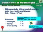 definitions of overweight based on bmi values