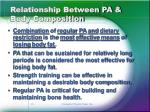 relationship between pa body composition