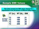sample bmi values