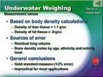underwater weighing measurement issues