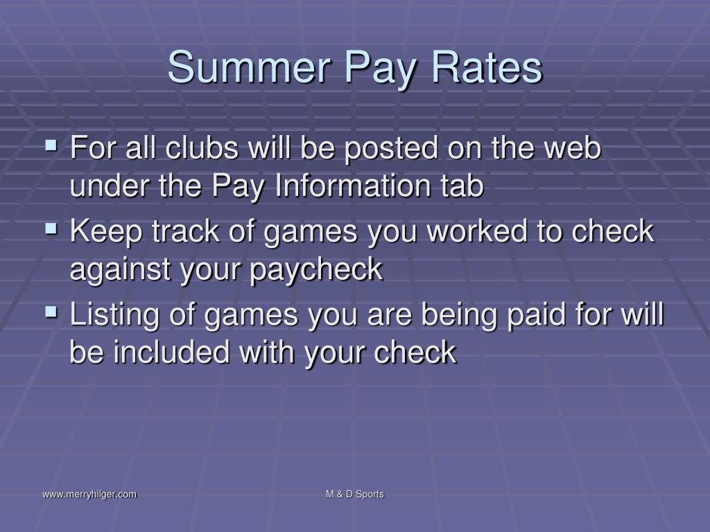 Summer Pay Rates