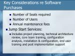 key considerations re software purchases