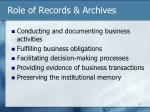 role of records archives