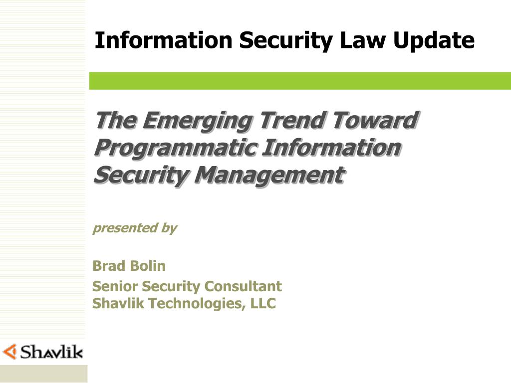 the emerging trend toward programmatic information security management l.