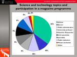 science and technology topics and participation in a magazine programme