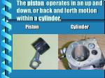 the piston operates in an up and down or back and forth motion within a cylinder