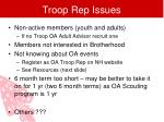 troop rep issues