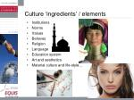 culture ingredients elements