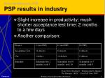 personal measures psp psp results in industry